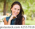 Attractive Mixed Race Girl Portrait Outdoors 42557016