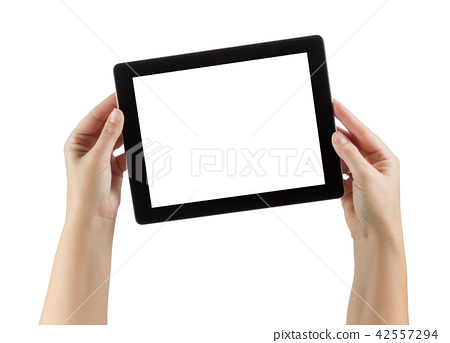 Female Hands Holding Blank Computer Tablet on White 42557294