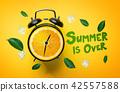 Summer is Over Typography. Alarm Clock of Orange 42557588