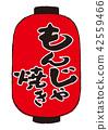 monja yaki, savory pancake with various fillings, calligraphy writing 42559466