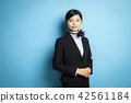 여자, 여성, 파란 배경 42561184
