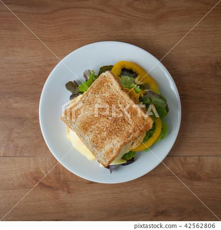 easy sandwich breakfast on wood table 42562806