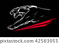 fang face muscular panther, roaring and crawling. 42563055