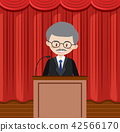 Man giving a speech on a stage 42566170