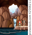 Girls exploring a cave with waterfall 42566211
