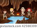 Children having a campire in a cave 42566309