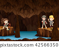 Children exploring the cave 42566350
