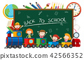 Back to school on blacboard with children on train 42566352