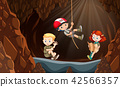 Children exploring the cave 42566357