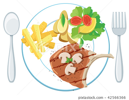 A plate of pork chop chips and salad 42566366