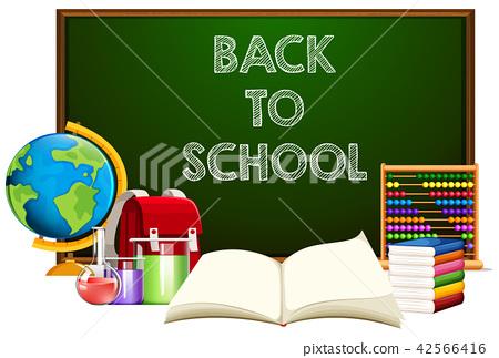 Back to school blackboard with school object 42566416