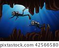 Scuba diving underwater cave 42566580