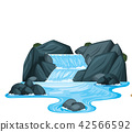 A small waterfall with rocks 42566592