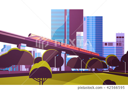 Subway monorail over city skyscraper view cityscape background skyline flat horizontal 42566595