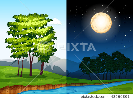 Set of daytime and nightime scenes 42566801