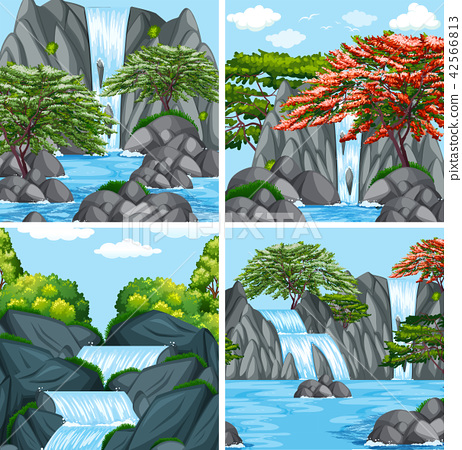A set of beautiful waterfall 42566813