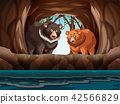 Grizzly bears living in the cave 42566829