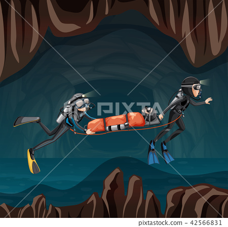 Rescue scene in undergound cave 42566831