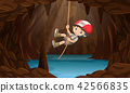 A boy exploring the water cave 42566835