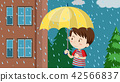 Young boy with umbrella walking in rain 42566837