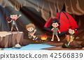 Children camping in a cave 42566839