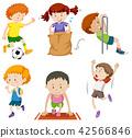 Set of children doing sporting activites 42566846