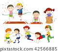 Set of kids doing sport activies 42566885
