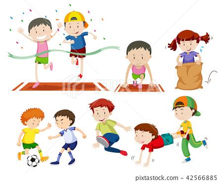 Set of kids doing sport activies 42566885