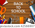 Back to school on wooden template 42566907