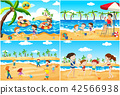 beach, children, vector 42566938