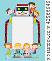 A robot and happy kids template 42566949