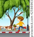 Young boy walking his dog 42566963