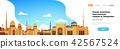 muslim cityscape mosque building religion flat horizontal banner copy space 42567524
