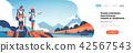 man woman tourists backpacks over beautiful nature landscape background couple hiking horizontal 42567543