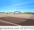 Airport terminal aircraft flying plane taking off waiting to board passengers cityscape background 42567550