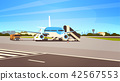 Airport terminal aircraft flying plane taking off waiting to board passengers cityscape background 42567553