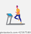 man running treadmill cartoon character sport male activities isolated keep fit healthy lifestyle 42567580