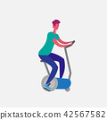 man training exercise bike riding stationary bicycle cartoon character sport male activities 42567582