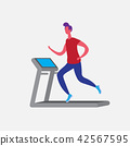 man running treadmill cartoon character sport male activities isolated keep fit healthy lifestyle 42567595
