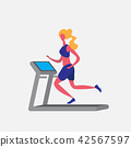 woman running treadmill cartoon character sport female activities isolated keep fit healthy 42567597