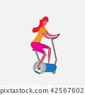 woman training exercise bike riding stationary bicycle cartoon character sport female activities 42567602