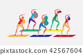 woman group doing aerobic exercises cartoon character sport female activities isolated healthy 42567604