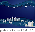 Architecture building with stars and moon on night 42568227