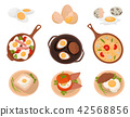 Tasty dishes made from eggs set, raw, boiled and fried eggs with various ingredients vector 42568856
