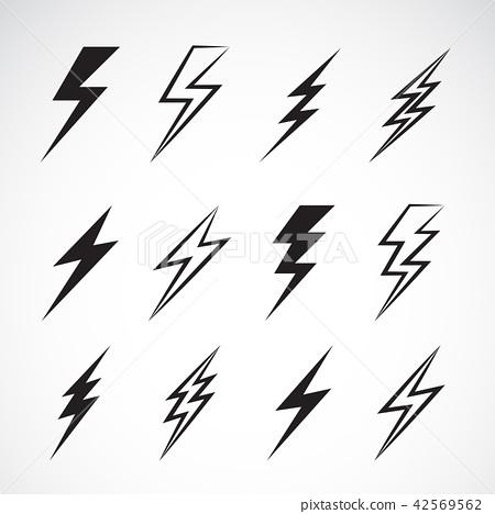 Vector of thunder lightning flat icons set. 42569562