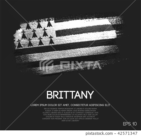 Brittany Flag Made of Glitter Sparkle Brush Paint 42571347