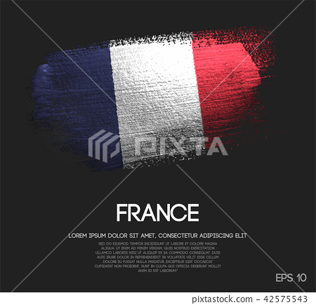 France Flag Made of Glitter Sparkle Brush Paint 42575543
