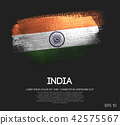 India Flag Made of Glitter Sparkle Brush Paint 42575567