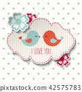 Two cute birds with flowers and text I love you 42575783