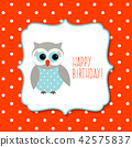Birthday greeting card with cute owl 42575837